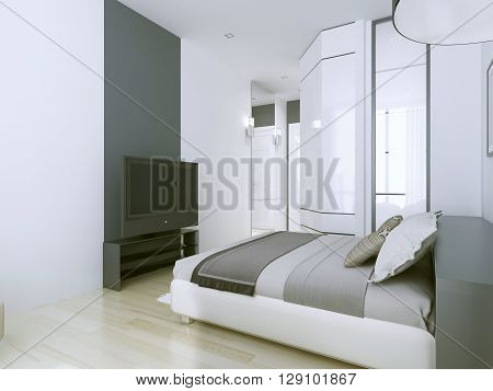 Elegant 3star hotel apartments in white. White and grey interior. Vertical floor-to-ceiling mirrors. 3D render