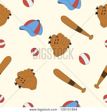 set for baseball, glove, cap, bat, game, sport, pattern