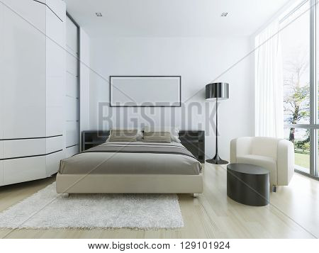 Luxury hotel room in white. Large panoramic window steel floor lamp light wood parquete flooring and white wool tick pile carpet. 3D render
