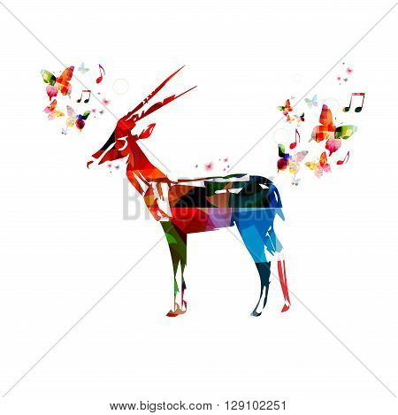Vector illustration of colorful gazelle with butterflies