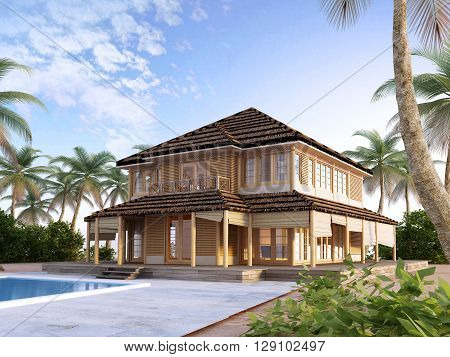 Large luxury villa on oceanic islands. Two-storey villa with large windows and a balcony. 3D render.