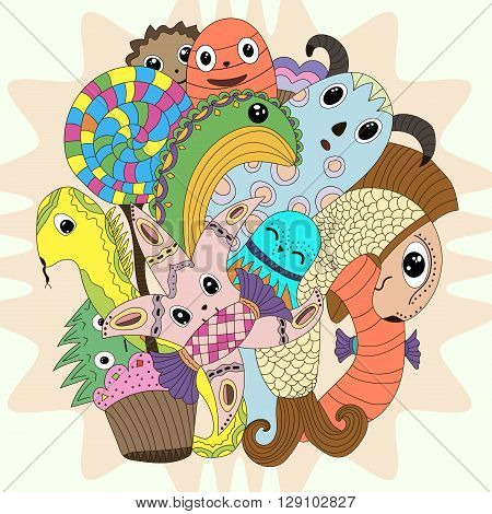 cute doodle monster mythical creatures Coloring cartoon