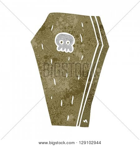 freehand retro cartoon halloween coffin