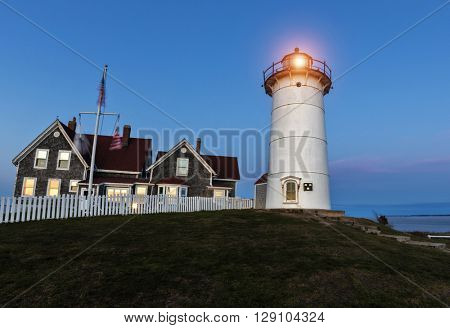 The Nobska Point Lighthouse, Woods Hole, Cape Cod, Massachusetts. USA
