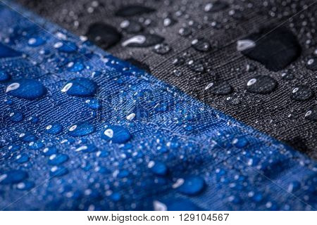 Waterproof coating background with water drops, texture