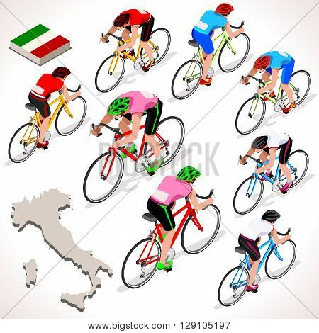 Giro Italia 2016 racing cyclist group riding bicycle path. Vector cyclist icon. Cyclist icons. Flat 3D isometric people set of vector cyclist and bicycle icons. Isometric bicycle group JPG EPS 2016 Cycling race icons.