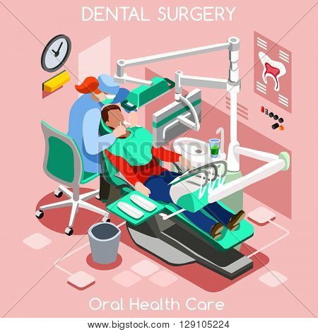 Dental implant teeth hygiene and whitening oral surgery centre dentist and patient. Flat 3D isometric people dentistry clinic room dental cosmetic implant. Hospital Teeth Health Hygiene Doctor.