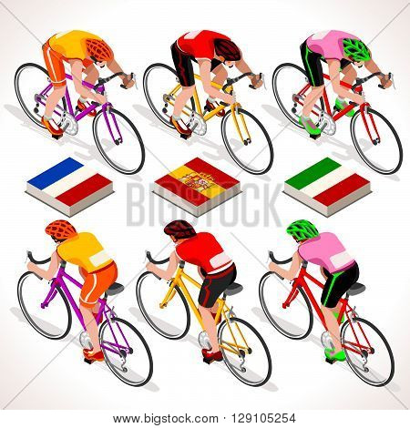 Racing cyclist group riding bicycle path. Vector cyclist icon. Cyclist icons. Flat 3D isometric people set of vector cyclist and bicycle icons. Isometric bicycle group JPG EPS 2016 Cycling race icons.