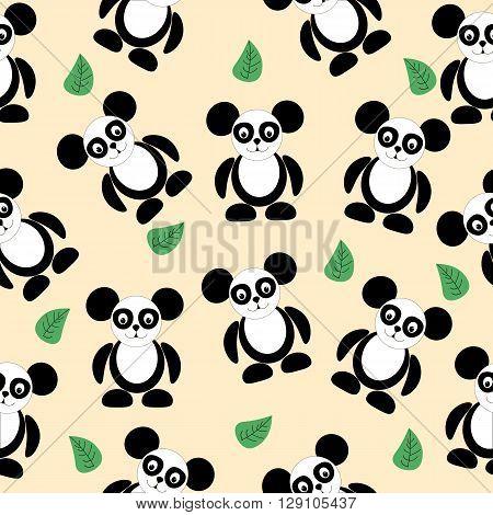 seamless texture black and white panda logo Pretty funny looks simple figures