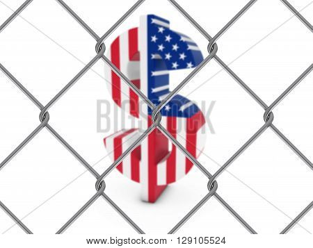 American Flag Dollar Symbol Behind Chain Link Fence With Depth Of Field - 3D Illustration