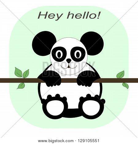 panda black and white logo Pretty funny looks simple figures