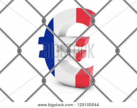 French Flag Euro Symbol Behind Chain Link Fence With Depth Of Field - 3D Illustration