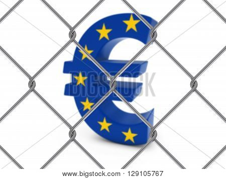 Eu Flag Euro Symbol Behind Chain Link Fence With Depth Of Field - 3D Illustration