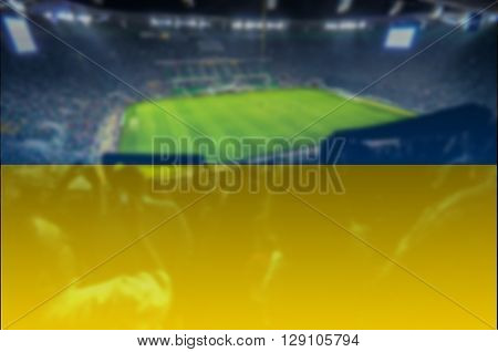 close up on stadium with blending Ukraine flag