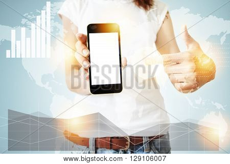 Double Exposure, Worldwide Connection Interfaces, Visual Effects. Female Office Worker Enjoying Free