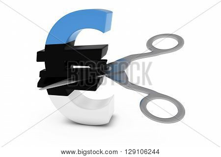Estonia Price Cut/deflation Concept - Estonian Flag Euro Symbol Cut In Half With Scissors - 3D Illus