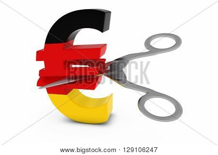 Germany Price Cut/deflation Concept - German Flag Euro Symbol Cut In Half With Scissors - 3D Illustr