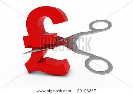 Price Cut/deflation Concept - Red Pound Symbol Cut In Half With Scissors - 3D Illustration