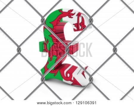 Welsh Flag Pound Symbol Behind Chain Link Fence With Depth Of Field - 3D Illustration