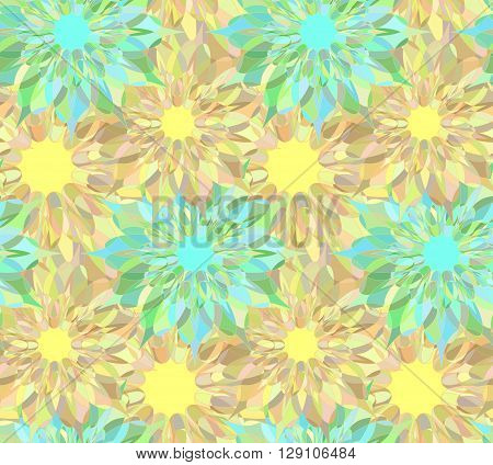 Seamless floral pattern with yellow and cyan guilloche flowers. Colorful crystal seamless guilloche pattern or background. Vector illustration