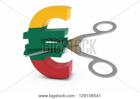 Lithuania Price Cut/deflation Concept - Lithuanian Flag Euro Symbol Cut In Half With Scissors - 3D I