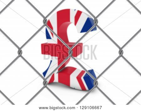 Uk Flag Pound Symbol Behind Chain Link Fence With Depth Of Field - 3D Illustration