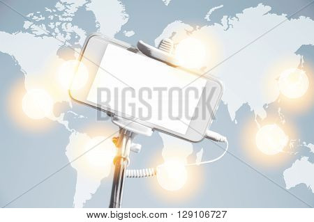 Worldwide Communication Interface. Visual Effects. Mobile Phone With Copy Space For Your Advertiseme
