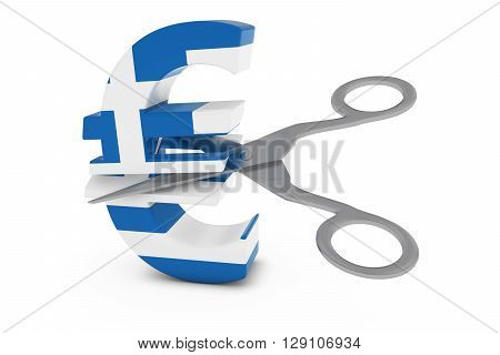 Greece Price Cut/deflation Concept - Greek Flag Euro Symbol Cut In Half With Scissors - 3D Illustrat