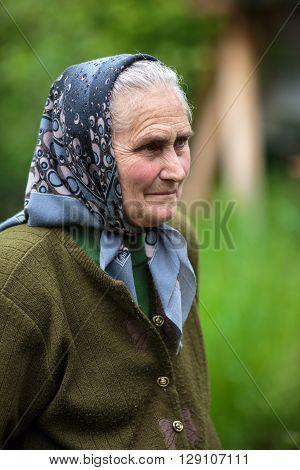 Old Farmer Woman Outdoor