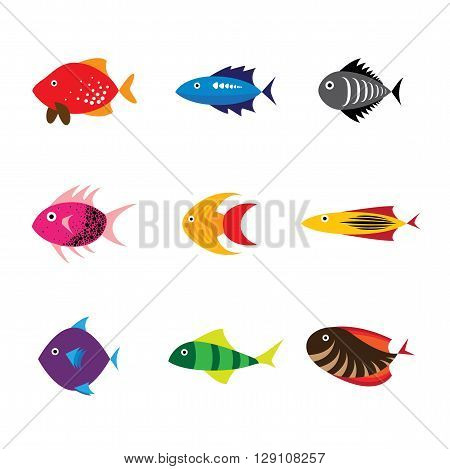 different type of fishes vector logo icon in eps 10 format