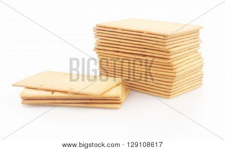 Biscuits or crackers on thr white background
