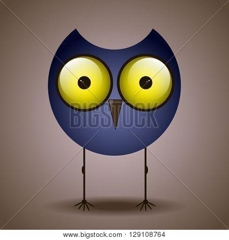 funny cute bird owl big eyes looks sitting on a branch
