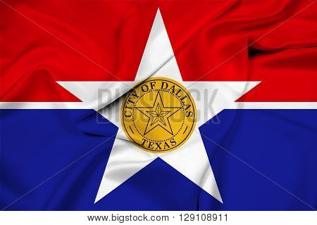 Waving Flag of Dallas Texas, with beautiful satin background.