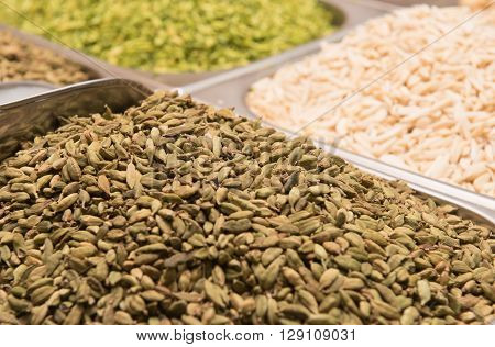 cardamom for sale in the spice souk at Deira. UAE Dubai
