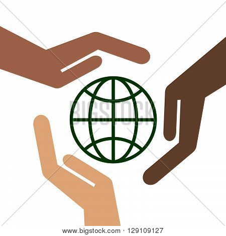 hands and globe. Hands of people hold the green globe
