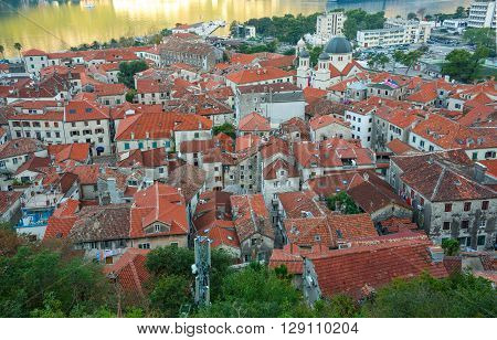 Top view of buildings in Kotor old town Montenegro Balkans