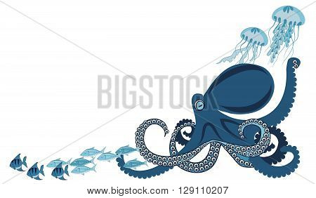 octopus among fish and jellyfish vector illustration