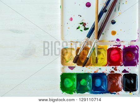 Artist brush and paint. Art of Painting