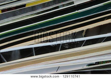 Stack of magazines - close up image of magazine piles