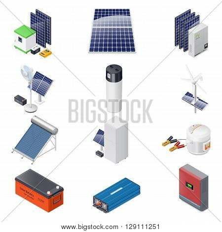 Home solar energy equipment isometric icon set vector graphic illustration