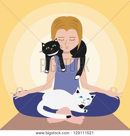 girl meditating with cats - illustration symbolizing harmony of human and animal relationship