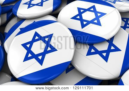 Pile Of Israeli Flag Badges - Flag Of Israel Buttons Piled On Top Of Each Other - 3D Illustration