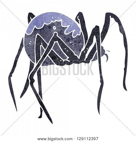 freehand retro cartoon creepy spider
