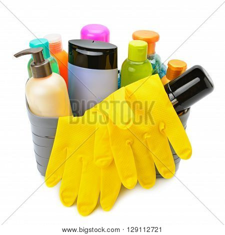household chemicals and protective gloves isolated on white background