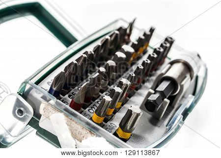 Different Security Screwdriver Drill Heads And Accessories In A Box