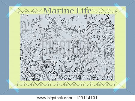 Marine life beautiful vector image. Sketch on the marine theme