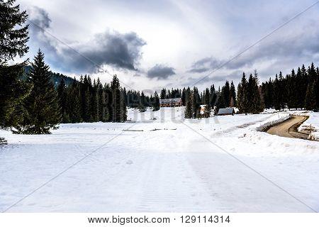 Mountain ski resort Pokljuka Slovenia - nature and sport ski lift cables and wheel