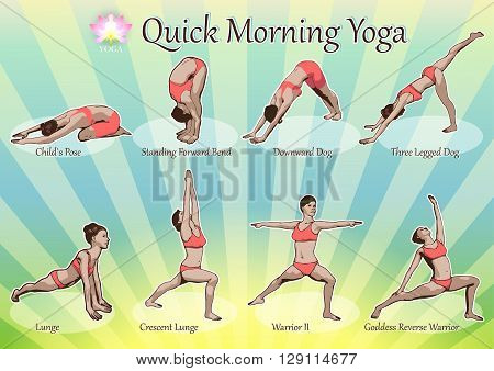 A set of yoga postures female figures: a sequence of exercise in the form of creative visual poster for morning yoga