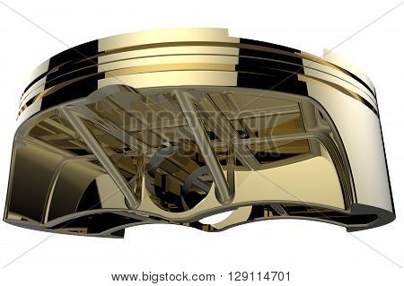 3D render gold piston. Detail of automobile engine.