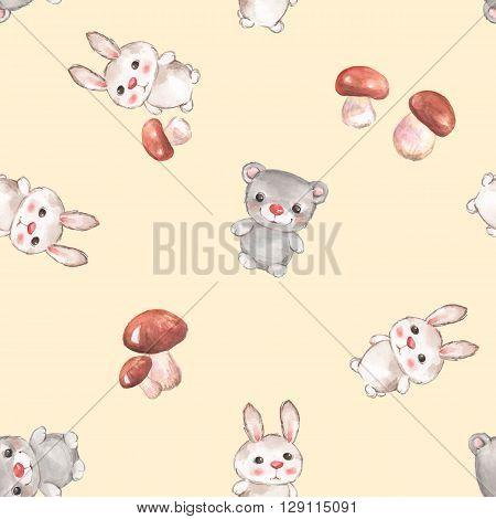 Small animals. Seamless pattern with cartoon animals 5